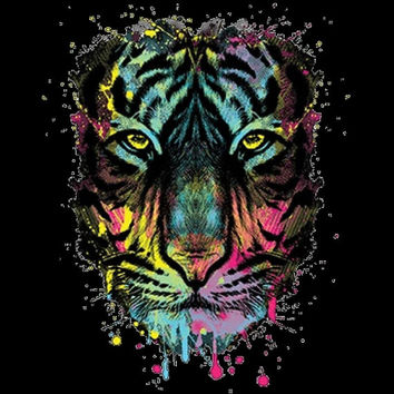 Neon Tiger T-Shirt Bengal Tiger Big Cat Siberian Tiger Animal Shirt Halloween Tshirt Halloween Tee This shirt on Sale of Halloween