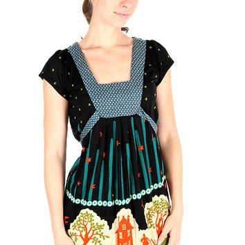 Yumi Village Print Empire Waist Dress