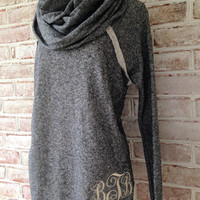Monogrammed French Terry Cowl Neck Tunic