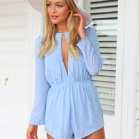 ALICE IN WONDERLAND PLAYSUIT - Baby blue playsuit featuring a keyhole opening at bust