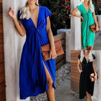 European and American V-neck short-sleeved front twisted split spring and summer dress female