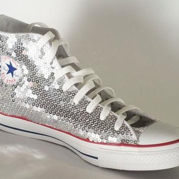 silver sequin converse all star hi top