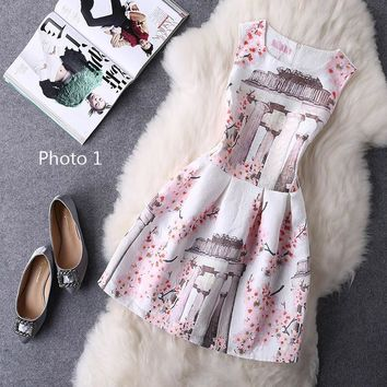 Hot sale sexy show thin sleeveless print dress-4