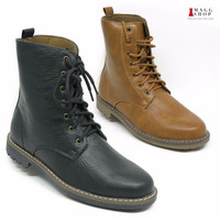 Men's Brown Casual Spring Rain Black Rubber Faux Leather Sole Winter Boots Shoes