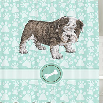 Apartment Decor Adorable Bulldog Purebred Cute Furry English Puppy Small Doggy Friendly Pet Owner Mint Green Khaki Art Prints Dogs Vintage Bone Toy Lover Animal Decoration Fabric Shower Curtain