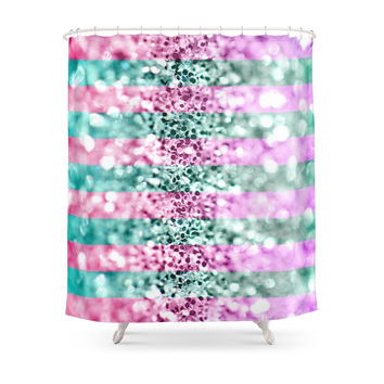 Society6 Pink & Blue Glitter Stripes Shower Curtains