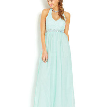 Speechless Juniors' Glittered Halter Gown