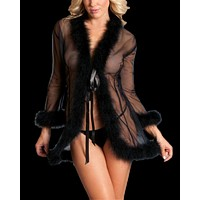 So Xxtra Feather Trim Sheer Robe