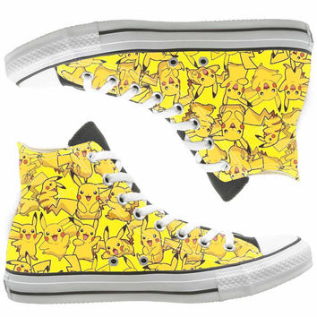 pokemon digital monster painted shoes, custom shoes by natalshoes