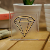 Crystal Rubber Stamp - 2x2 Inches