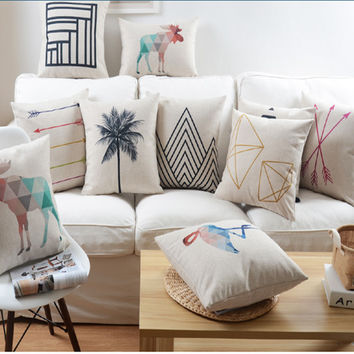 Nordic Abstract Geometric Home Decor Pillow Cushion Linen Cotton Coconut Trees Decorative Throw Pillows Free Shipping