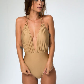 Jagger Plunge Neck Swimsuit in Soft Gold by Motel