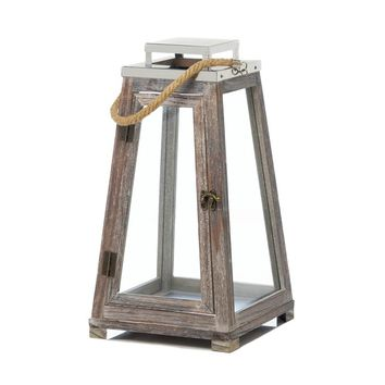 Metal Large Pyramid Wooden Candle Holder Lantern With Rope