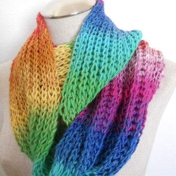 SALE ENDS OCT 1st!! Knit Cowl multicolor, neckwarmer, scarf in multicolor yarn. Warm and soft for winter Womens Accessory Winter Fashion