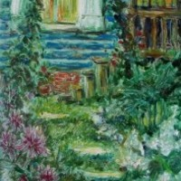 Summer Twilight Garden in Russia oil painting