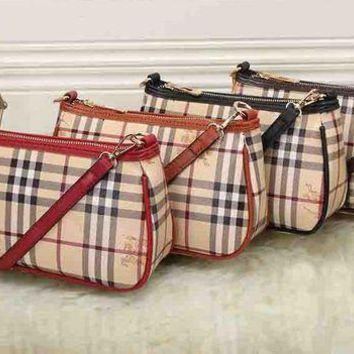 DCCKH3L Burberry' Women Classic Fashion War Horse Multicolor Stripe Tartan Single Shoulder Messenger Bag Handbag