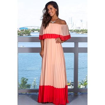 Peach Off Shoulder Pleated Maxi Dress