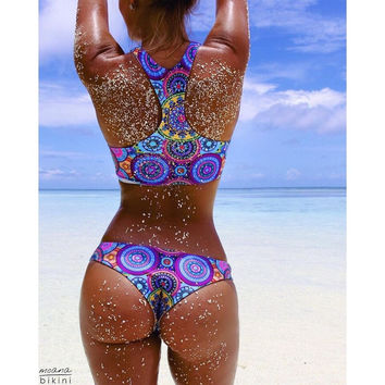 Women Sexy Blue Floral High Neck Tank Swimsuit 2016 Summer Bandeau Thong Bikini Set Swimwear Brazilian Bandage Bathing Suit LC50