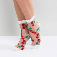 ASOS Sheer Cherry Socks at asos.com
