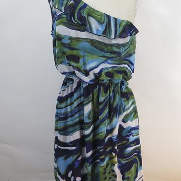 Cynthia Rowley One Shoulder Ruffle Green & Blue Dress SIZE 12
