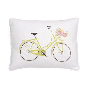 Vintage Rose Garden Bicycle Throw Pillow (White)