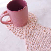 2 cotton lace coasters pink color heart shape Small crocheted doilies Valentine day gift