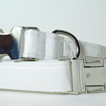Designer Wedding Dog Collar - White Silk With Metal Hardware - Wedding dog collar, white, designer dog collar, matching leash