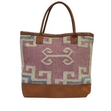 Brenna Woven Tote in Dusty Rose