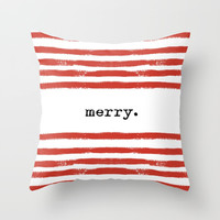 red stripes-merry Throw Pillow by Sylvia Cook Photography