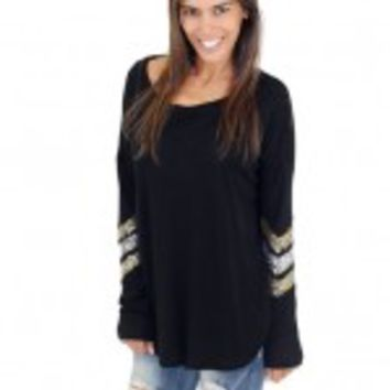 Black Top With Chevron Sequins