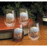 Wild Wings Terry Redlin Birch Line Stemless Wine Glass Set