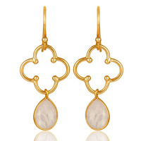 Rainbow Moonstone 18K Gold Plated Sterling Silver Artisan Earrings