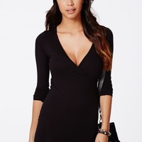 Missguided - Basilia Jersey Wrap Bodycon Dress Black
