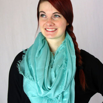Turquoise Fray Infinity Scarf – Bel Boulevard