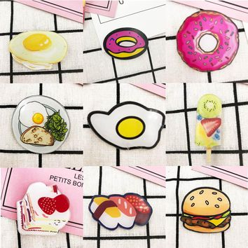 Lifelike Acrylic Food Cartoon Brooch Pin Foodie Doughnut Ice-cream stick Fashion Jewelry Sushi Dumpling Badge