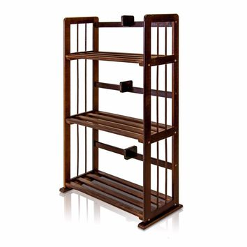 Furinno Pine Solid Wood 3-Tier Bookshelf, Espresso