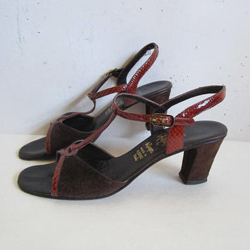 70s Suede Leather Sandals Vintage Amalfi by Rangoni Dark Brown 1970s High Heel Open Toe Shoes Womens Footwear 8S