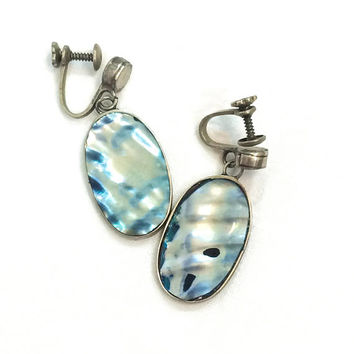 Sterling & Abalone Oval Earrings,  Silver Dangle Earrings, Shades of Blue, 1940s 1950s,  Boho Vintage Jewelry