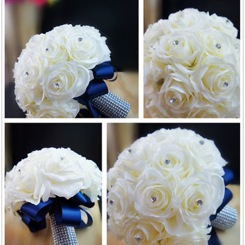 Shop boutonniere silk flowers on wanelo 13pc wedding bridal party flowers supreme silk flower roses with navy blue ribbon bouquet mightylinksfo