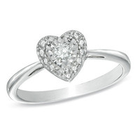 1/10 CT. Diamond Solitaire Heart Miracle Promise Ring in Sterling Silver - Size 7 - View All Rings - Zales