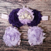 Purple Shabby And Rhinestone Crown Headband And Barefoot Sandal Set!