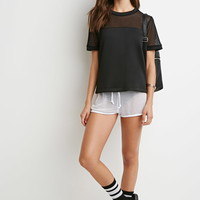 Mesh-Paneled Scuba Knit Top | Forever 21 - 2000183975