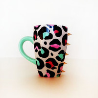 Meow  Coffee Mug  hand painted  leopard  by jessiedurbandesigns