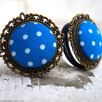 "Something Blue - Sizes  3/4 (19mm) to 1"" (25mm) vintage polkadot plugs for stretched ears"