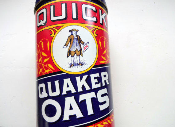 vintage pure quaker oats tin 1990 from wylieowlvintage on etsy
