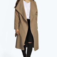 Ribbon Tie Larege Wool Trench Coat