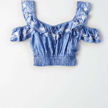 AE Embroidered Cold Shoulder Crop Top, Classic Blue