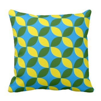 Yellow Green Floral Throw Pillow