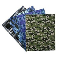 4 Laminated 2-Pocket Camo Colored Folders, 3 Holes - Camouflage, Plaid Patterns