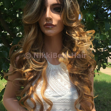 Balayage Dark Blonde Curly Layers Hair Lace Front Wig 26 inches